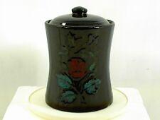 VINTAGE COOKIE JAR BLACK STONEWARE CROCK PAINTED FLOWERS HOUR GLASS SHAPED