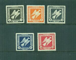 Colombia 1930 Express Bird Stamps 1p -10p Mint