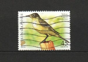 SINGAPORE 2007 YELLOW WAGTAIL $0.45 6TH RE-PRINT (2007G) 1 STAMP IN FINE USED