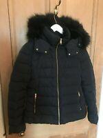 Women's Navy Blue Down Filled Puffer Jacket, Super Warm, Faux Fur lined, ZARA L