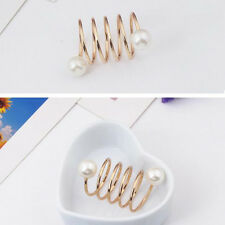 Simple  Spiral Shape Gold Plated Imitation Pearl Brooches Scarf Buckle Ring Clip