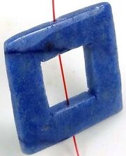 35mm Blue Aventurine Square Frame donut Pendant Bead