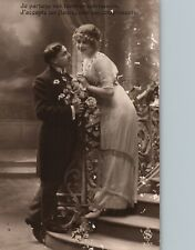 1915 Romantic Couple Man Giving Flowers to Woman Poem Antique French Sepia RPPC