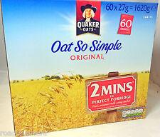 60 x Quaker Oats So Simple Original Microwaveable 27g Sachets Camping Work Home