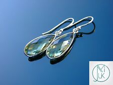 Green Amethyst Natural Gemstone 925 Sterling Silver Earrings Quartz Healing