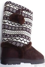 size 71/2 knitted Winter Snow Boots Brown strong sole mid calf warm snow boots