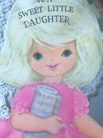 Vintage Birthday Greeting Card Little Girls Diecut Pink Dress Tri Hallmark Mcm