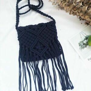 Lady Crochet Crossbody Bag Handbag Boho Ethnic Fringe Tassel Vintage Summer Cute