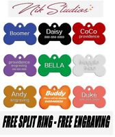 Pet ID Name Tag Tags Laser Engraved Dog Cat Bone Customised and Personalised