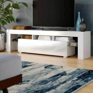 Modern TV Unit Stand Cabinet White Sideboard High Gloss Door Matt  Body LED Wood