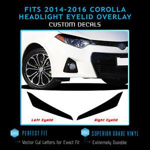 For 2014-2016 Toyota Corolla Headlight Eyelid Set Trim Overlay Decals - Matte