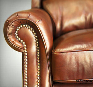 POWER Barcalounger Churchill II Genuine Art Burl Leather Recliner Lounger Chair
