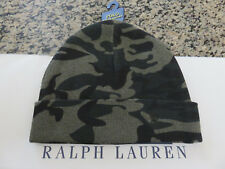 Polo RALPH LAUREN Cotton Thermal Pony Cuffed CAMO Beanie Hat Skull Ski Cap OLIVE