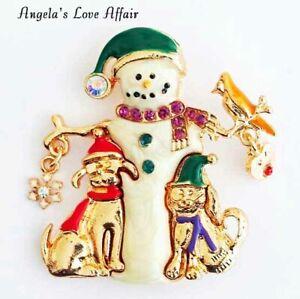 CHRISTMASY GOLD CRYSTAL ENAMEL XMAS CHRISTMAS SNOWMAN ANIMAL FRIENDS BROOCH PIN