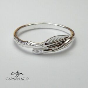 Solid 925 Sterling Silver Ring/Midi Ring Leaf Branch Small Size E & F + Gift Bag