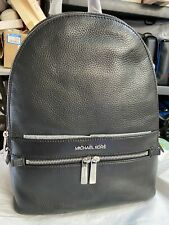 MICHAEL KORS KENLY LARGE PEBBLED LEATHER BACKPACK BLACK / SILVER $468