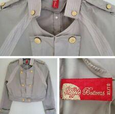 Apple Bottoms Grey Beige XL Very Short Mini Cropped Long Sleeve Miiltary Jacket