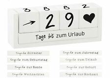 Holz Countdown Würfel - 8 Sprüche - Deko Holzwürfel Würfelkalender Dauerkalender