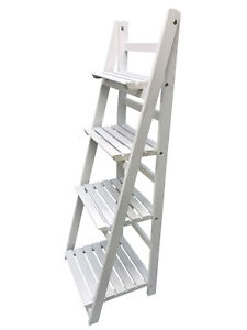 4 Tier Ladder Shelf Display Unit Folding Book Stand Shelves Free Standing White