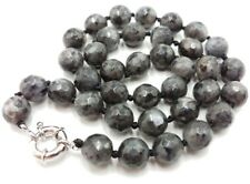 """gray Labradorite Faceted Round Beads Necklace 18 """" Long 10mm Natural Black"""