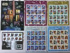 6 US Mint Stamp Sheet The Art of Disney Muppets Star Wars 2004 - 2008