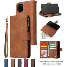 For iPhone 11 Pro Max XR XS 7 8 Plus Zipper Leather Card Holder Wallet Flip Case