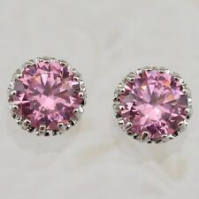 Cute Nice Tourmaline Pink Round Gems Jewelry Gold Filled Stud Earrings H1979