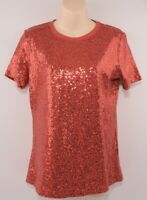 DKNY Women's Red Sequins T-shirt, size SMALL