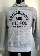 Abercrombie & Fitch Large Front Flock Logo Hoodie Light Grey Marl - S