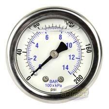 """2"""" Back Mount 1/4 Liquid Filled 200 PSI Compressed Air Compressor Pressure Gauge"""