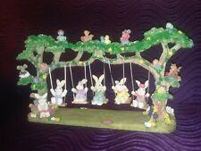 New ListingEaster Village Swinging Bunnies Scene Table Accent Figure Spring Decor W/Box