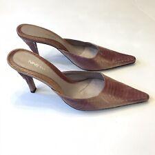 Nine West Do Wonders Pink Leather Snakeskin Mules Slip On High Heel Shoes Sz 9