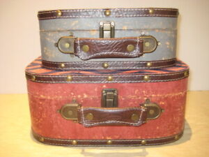Set of 2 Plaid Decorative Storage Boxes - Suitcase Heavy Cardboard Box