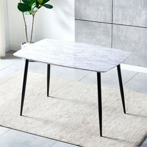Dining Table with Metal Legs Kitchen Table (White Marble Effect Top, 120 * 80cm)