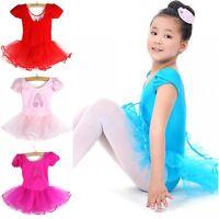 3-8Y Child Kids Girl Short Sleeve Leotard Dance Dress Ballet Dance Tutu Costume