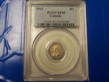 1913 Canada SILVER 5C PCGS XF45  **SWEET** FREE U.S. Shipping