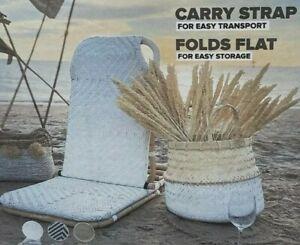 Rattan Beach Chair Foldable Portable Shoulder Strap & DELUXE White NEW FREEPOST