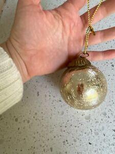 Set of 8 Restoration Hardware Crackle Glass Ball Ornaments Gold 2.5 inch