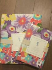 NEW Pottery Barn Kids Girls Purple POPPY Floral Standard Pillowcase+ Twin Duvet