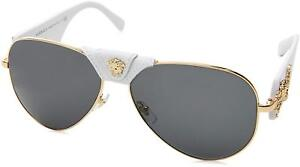 VERSACE Leather Unisex Sunglasses VE 2150Q 1341/87 Gold-White / Grey Lens