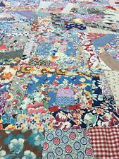 Vintage Antique 1950's Crazy Patchwork Quilt 88x78 handmade in good condition
