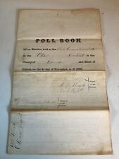 1869 Old Paper Poll Book School House District Bond County. 200+ Signatures