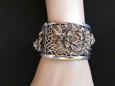 NEW WOMEN SILVER PEWTER ELASTIC METAL ROSES FASHION FLOWERS BRACELET RHINESTONES