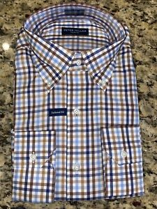 $150 NEW PETER MILLAR Crown Check Brown Blue Check Shirt, MEDIUM