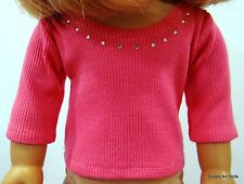 "HOT PINK Ribbed w/ RHINESTONES LS DOLL SHIRT fits 18"" AMERICAN GIRL DOLL A/Z"