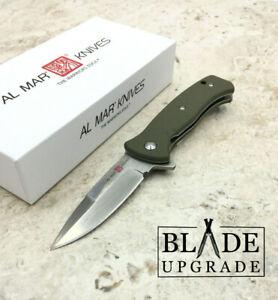 Al Mar Mini SERE 2020 Linerlock A/O Green Handle Folding Knife 2208