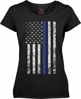 Womens Black US Flag Distressed Thin Blue Line Support the Police Long T-Shirt
