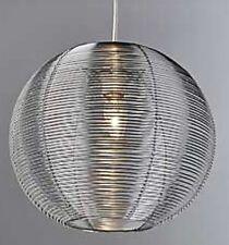 LARGE Silver alluminio metallico in ROUND BALL SFERA soffitto luce ombra pendente nuovo