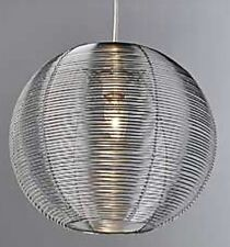 LARGE Silver Aluminium Metal Round Ball Sphere Ceiling Light Shade Pendant NEW