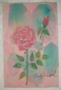 Andy warhol Rose mixed media on old paper